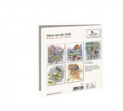 Wmc1003,Kerstkaart mapje 10 stuks met env elwin van der kolk vogels in de sneeuw