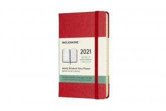 , Moleskine 12 MND Agenda - 2021 - Wekelijks - Pocket (9x14 cm) - Scarlet Rood - Harde Kaft