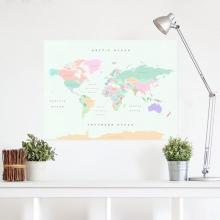 , Wereldkaart kurk XL Retro 90 x 60cm