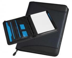 , Schrijfmap Rillstab Maastricht A4 O-mech 25mm lederlook zwart