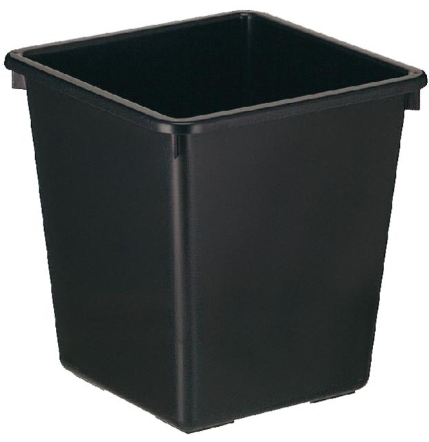 ,Papierbak kunststof vierkant taps 21liter zwart