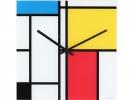 ,wandklok NeXtime 43x43cm glas, gekleurd, `Time Lines`