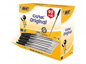 , Balpen Bic Cristal zwart medium doos 90+10 gratis