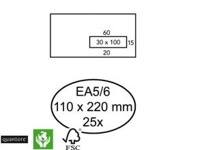 , Envelop Quantore 110x220mm venster 3x10cm rechts zelfkl 25st