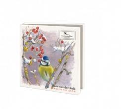 Wmc1003 , Kerstkaart mapje 10 stuks met env elwin van der kolk vogels in de sneeuw