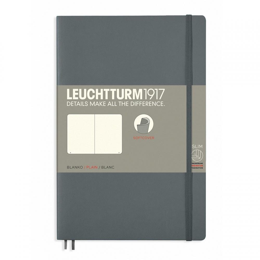 Lt358328,Leuchtturm notitieboek softcover 19x12.5 cm blanco antraciet