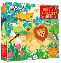 , Boek & 3 Puzzels De dierentuin