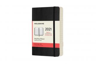 , Moleskine 12 MND Agenda - 2021 - Dagelijks - Pocket (9x14 cm) - Zwart - Zachte Kaft