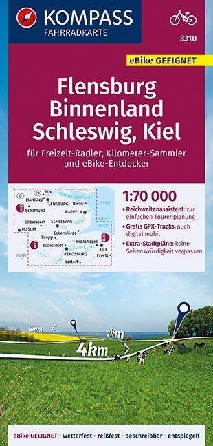 ,KOMPASS Fahrradkarte Flensburg Binnenland, Schleswig, Kiel 1:70.000, FK 3310