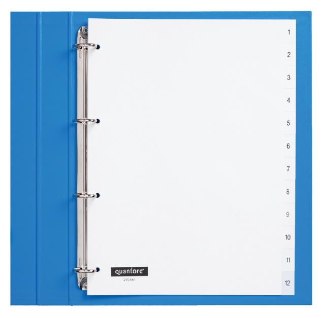 ,Tabbladen Quantore 4-gaats 1-12 genummerd wit PP