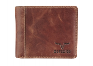 Ma-48026433 , Maverick dalian ii rfid-blocking billfold portemonnee leer donkerbruin