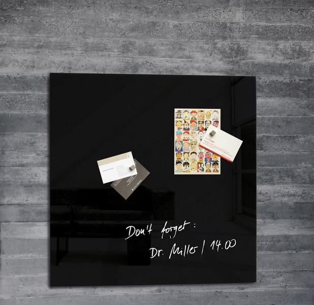 ,glasmagneetbord Sigel Artverum 480x480x15mm zwart
