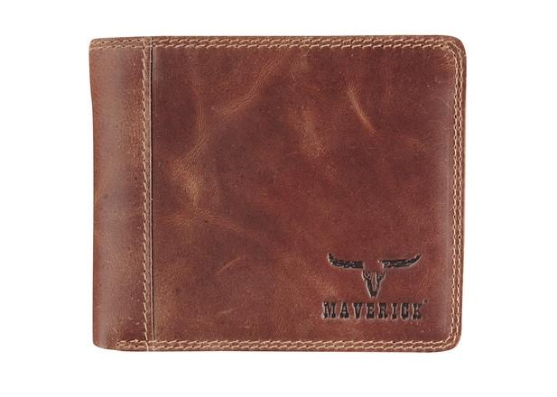 Ma-48026433,Maverick dalian ii rfid-blocking billfold portemonnee leer donkerbruin