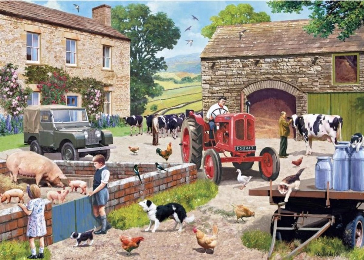 Gib-g6304,Puzzel life on the farm kevin walsh gibsons 1000 stukjes 68cm x 49cm