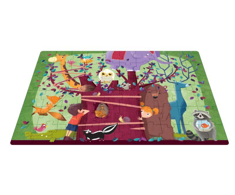 ,Een boom vol dieren - boek + giga puzzel