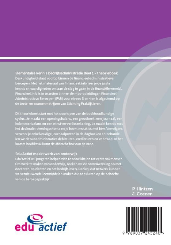 ,Elementaire kennis Bedrijfsadministratie deel 1 Theorieboek