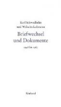 Schwedhelm, Karl Karl Schwedhelm und Wilhelm Lehmann. Briefwechsel und Dokumente 1948-1967
