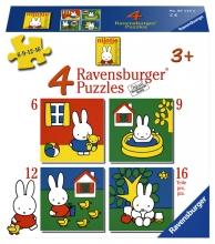 , Puzzel Ravensburger Nijntje 4x puzzels 6+9+12+16 stuks