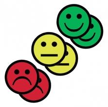 , Magneet smiley 75mm 2x geel 2x groen 2x rood
