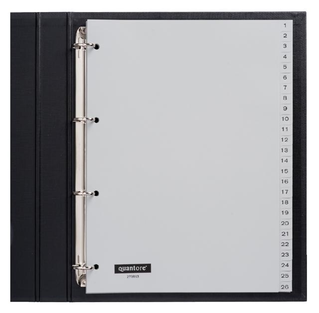,Tabbladen Quantore 4-gaats 1-52 genummerd grijs PP