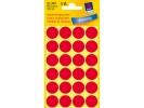 ,Etiket Avery Zweckform 3004 rond 18mm rood 96stuks