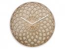 ,Wandklok NeXtime dia. 35 cm, hout & stof, beige, `Sun Small`