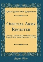 Department, United States War Department, U: Official Army Register