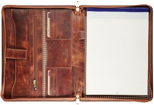 ,Schrijfmap Maverick Dalian mark II A4 leer met rits bruin