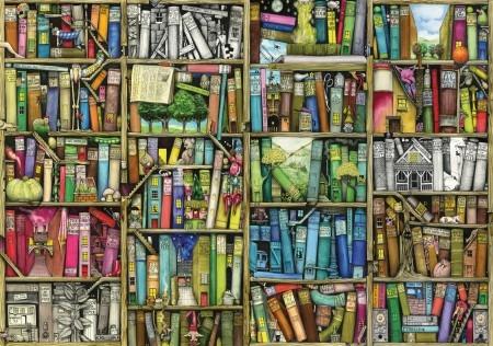 Wen-441613z,Bookshelf - colin thompson - wentworth wooden puzzles - 40 - 125x87mm