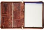 , Schrijfmap Maverick Dalian mark II A4 leer met rits bruin