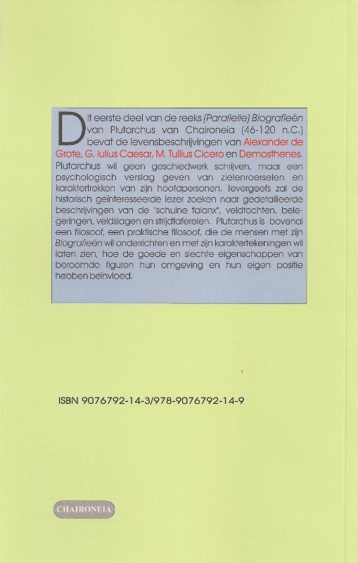 Plutarchus,Biografieën I