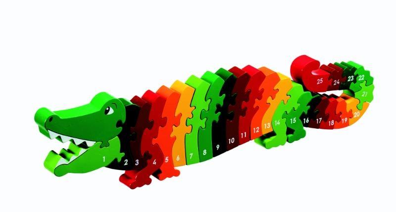 ,Houten puzzel Krokodil - Leren tellen 1-25 - Lanka Kade