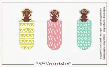 Mos-31144 , Magnetische boekenlegger set 3 stuks apen