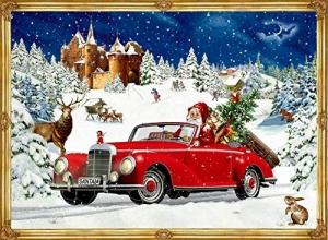 , Adventskalender winterrit in een klassieke auto