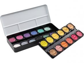 , verftablet 30 mm metaalkleuren 24 stuks met 2 flipflop      kleuren. Finetec