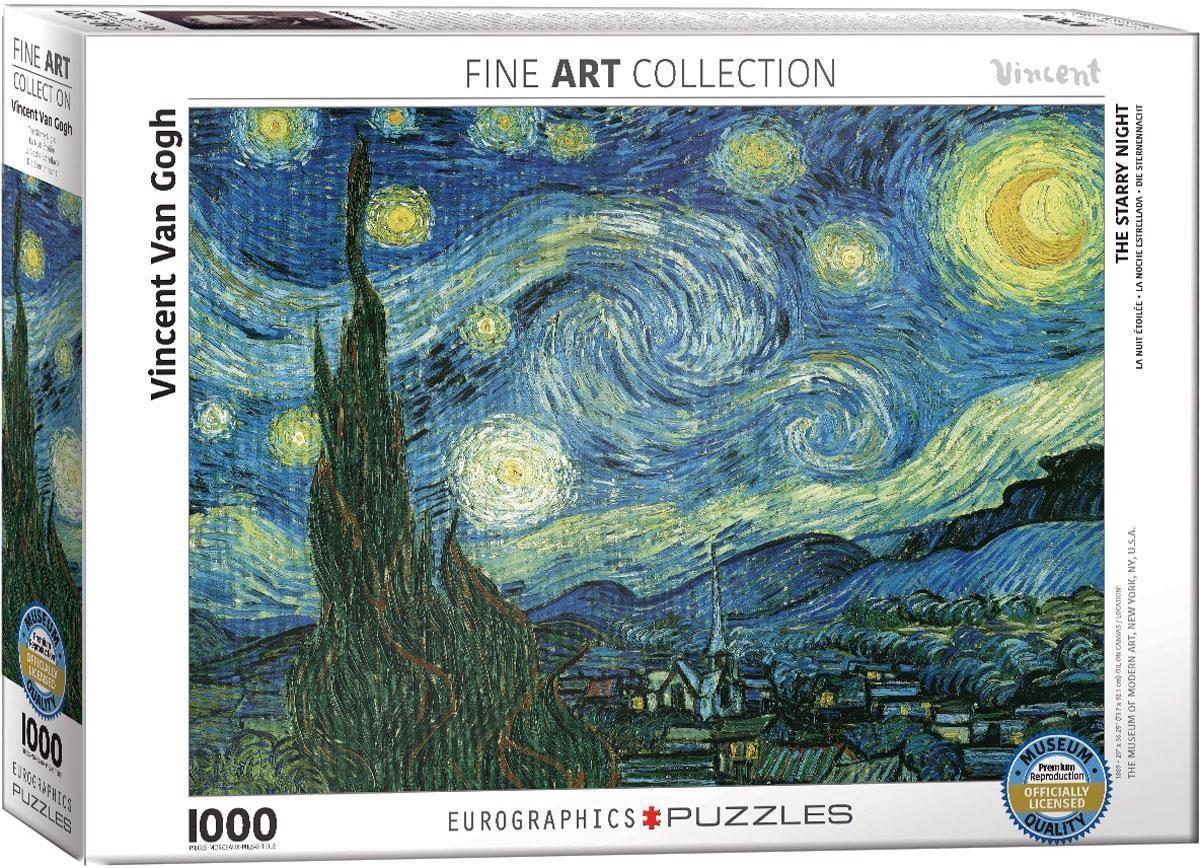 Eur-6000-1204,Puzzel eurographics starry night- vincent van gogh  1000 stukjes 48x68 cm