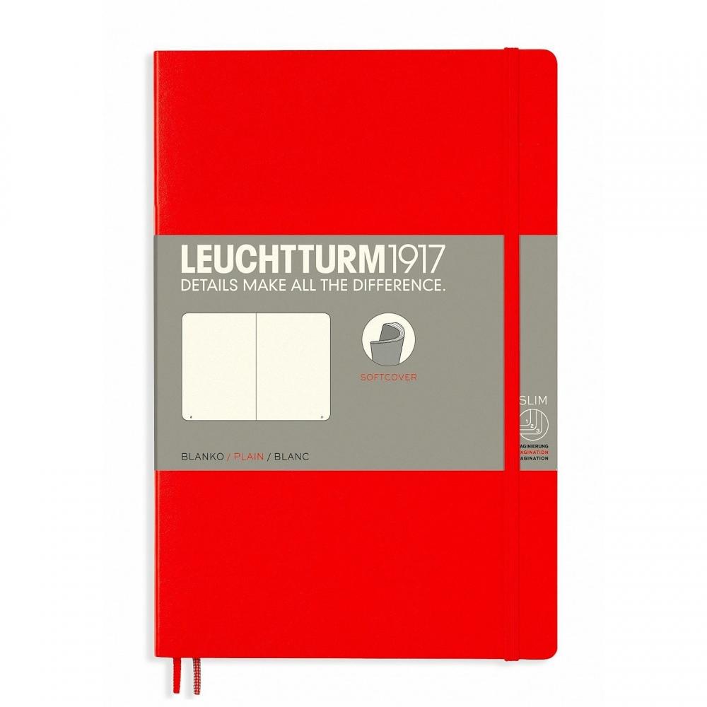 Lt358298,Leuchtturm notitieboek softcover 19x12.5 cm blanco rood