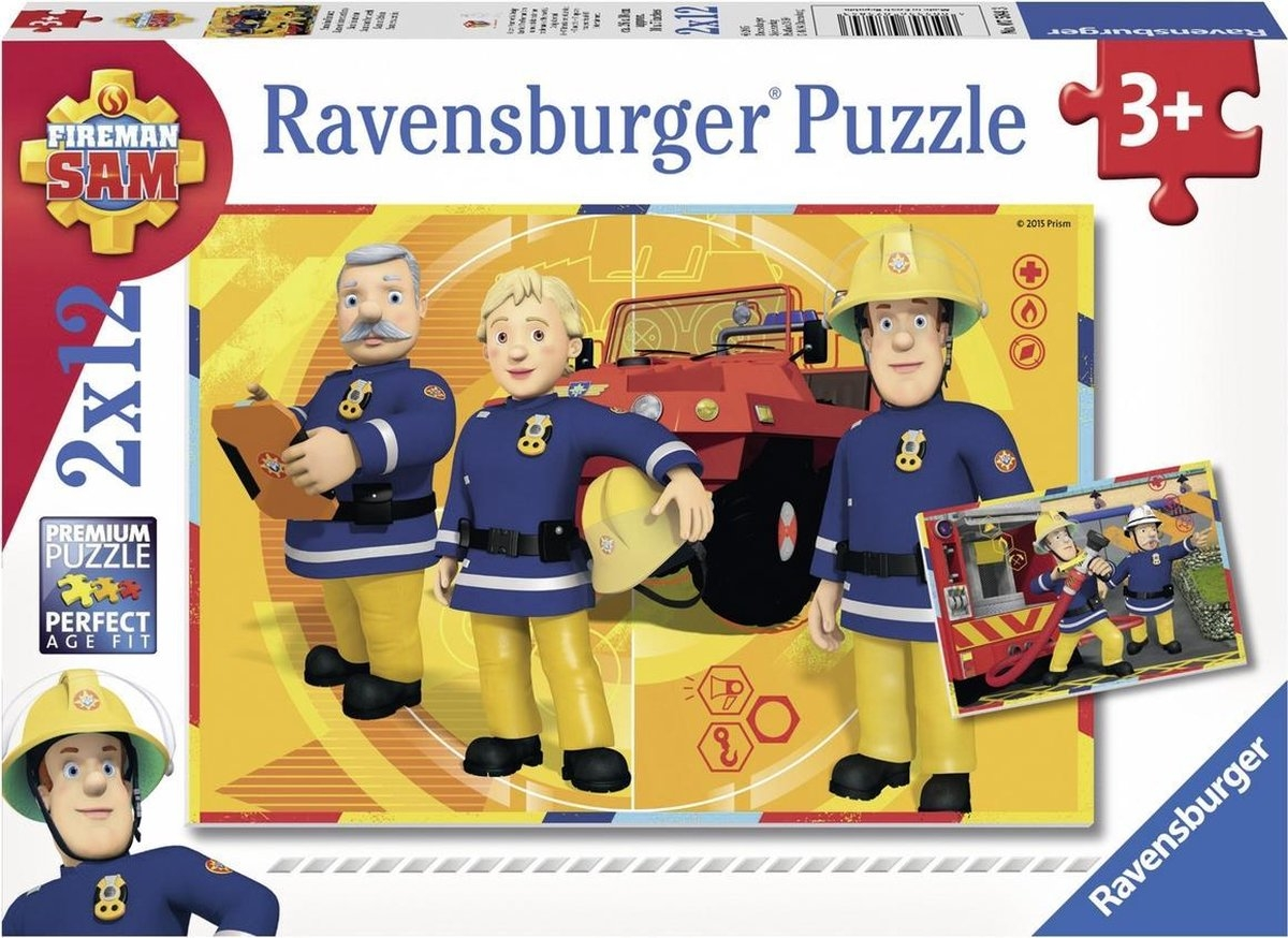 Rav-075843,Puzzel brandweer sam - sam aan het werk (2x12 stuks)