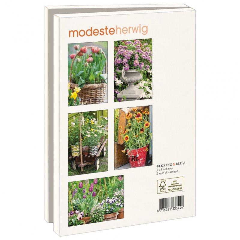 Lmc370,Notecards 10 stuks 13x18 bloemen in potten modeste herwig