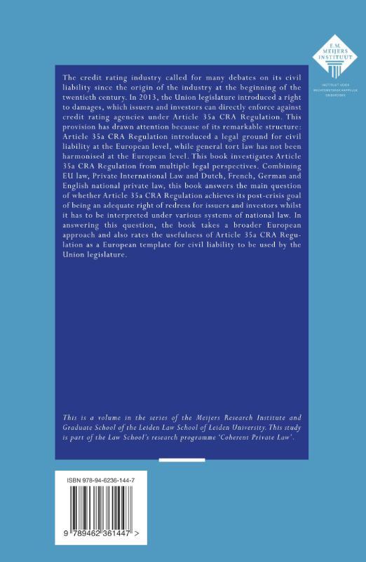D.J. Verheij,Credit rating agency liability in Europe