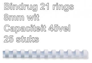 , Bindrug Fellowes 8mm 21rings A4 wit 25stuks