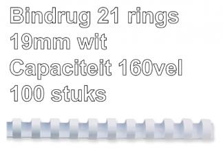 , Bindrug Fellowes 19mm 21rings A4 wit 100stuks