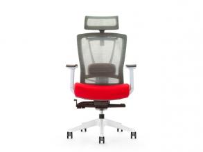 , Bureaustoel luxe Kangaro netstof. Multi verstelbaar met     hoofdsteun, grijs/rood