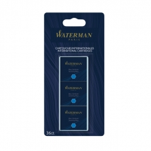 , Inktpatronen Waterman blauw uitwasbaar blister à 6 stuks