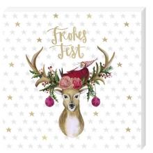 , Kerst servetten hert met engel