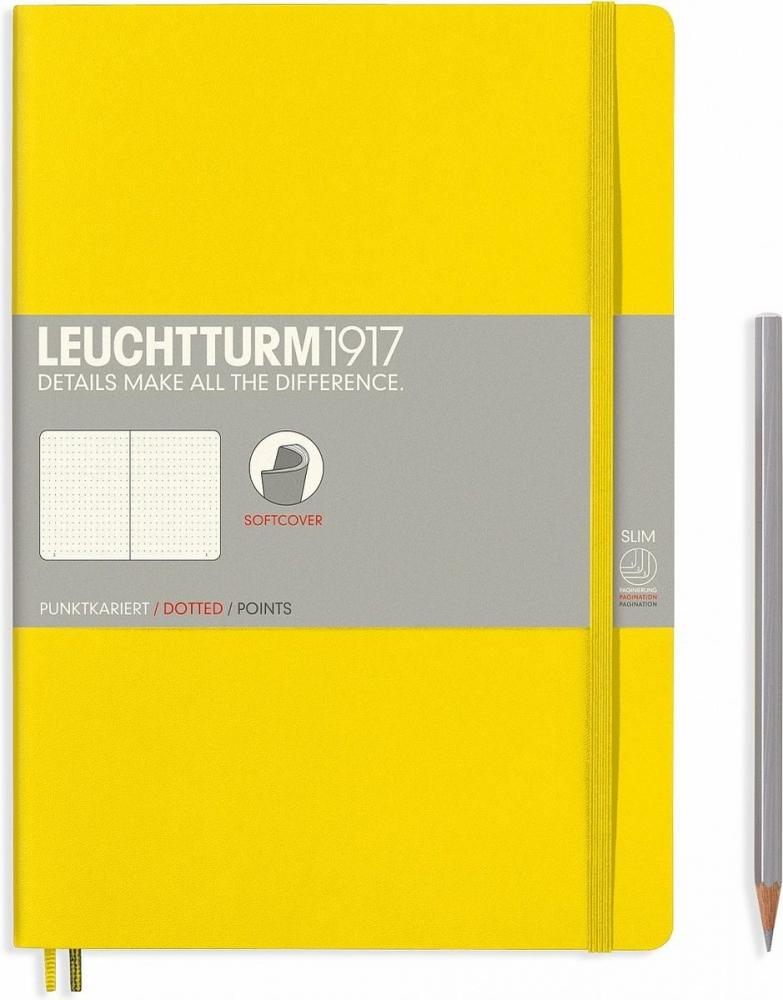 Lt355289,Leuchtturm notitieboek composition softcover 178x254 mm dots/puntjes lemon geel