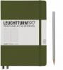 <b>Lt348101</b>,Leuchtturm notitieboek medium 145x210 lijn legergroen