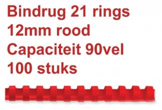 , Bindrug Fellowes 12mm 21rings A4 rood 100stuks