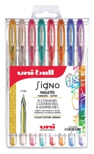 , Gelschrijver Uni-ball Signo glitter etui à 8 kleuren