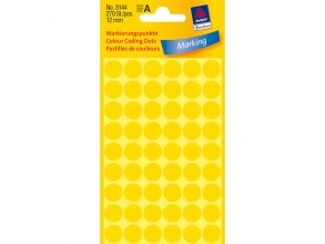 , Etiket Avery Zweckform 3144 rond 12mm geel 270stuks